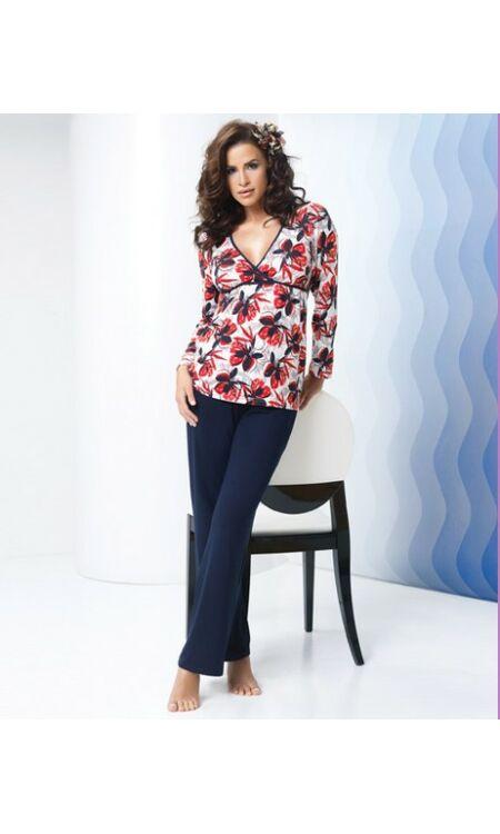 OLIVIA piros-kék női pizsama