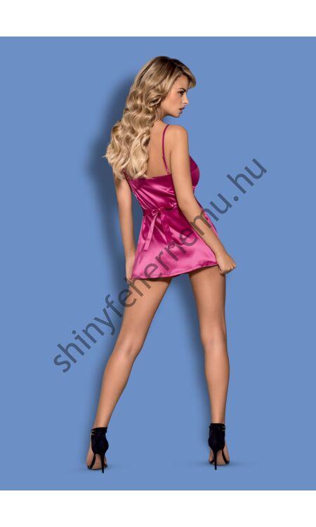 SATINIA  Pink szatén hálóing + tanga XXL