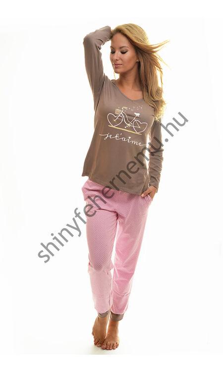 POPPY Chill Bicikli pizsama barna-rózsa