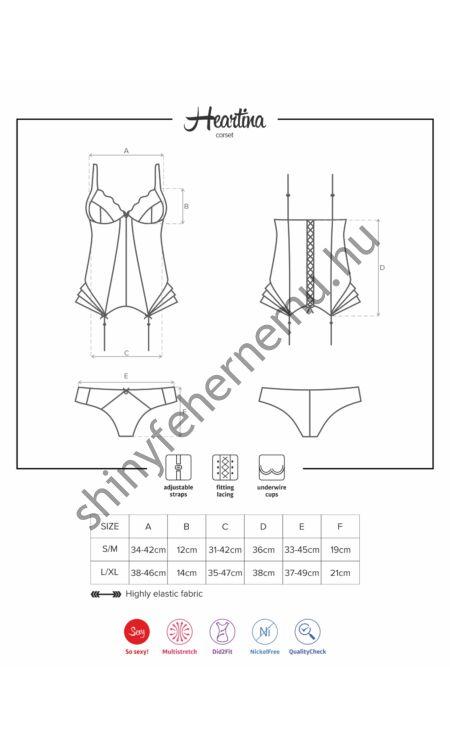 HEARTINA fehérnemű, szexi corset, fűző+tanga