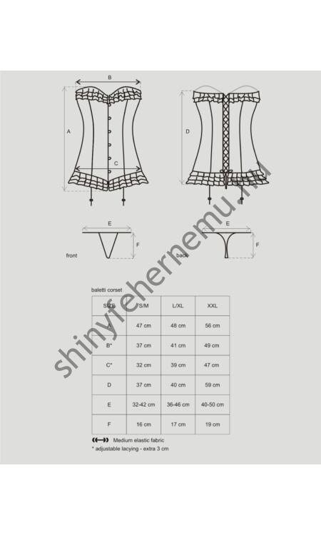 BALETTI  Black corset, fűző + tanga XXL