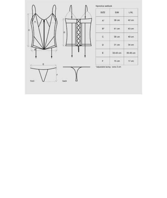 HIPNOTICA  Wetlook szexi corset, fűző + tanga