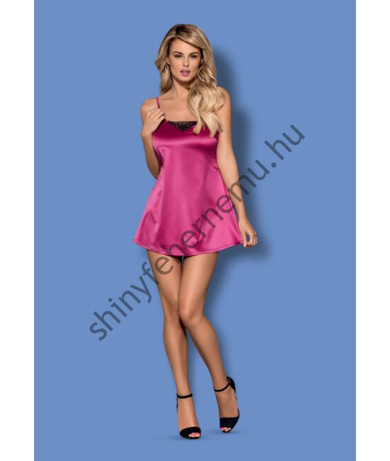 SATINIA  Pink szatén hálóing + tanga