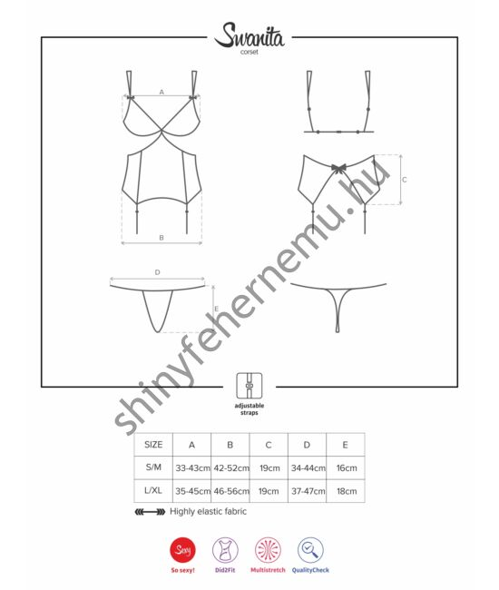 SWANITA Black szexi corset+tanga