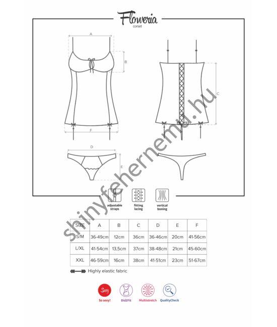 FLOWERIA fehérnemű, szexi  corset + tanga