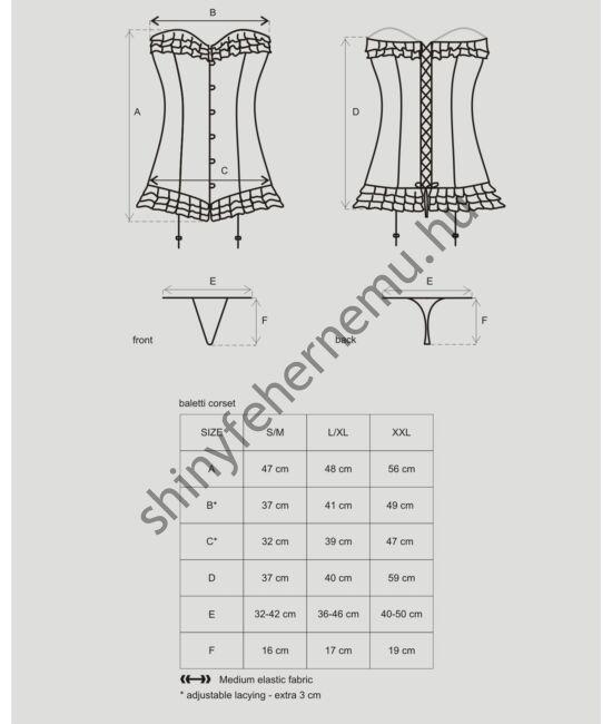 BALETTI  Black corset, fűző + tanga