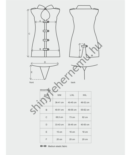 STEWARDESS Dress, 3 részes erotikus jelmez