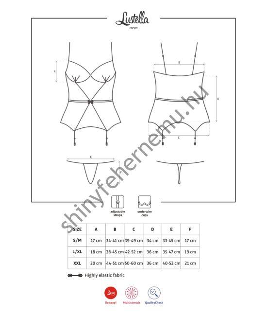 LUSTELLA fehérnemű,  szexi corset + tanga