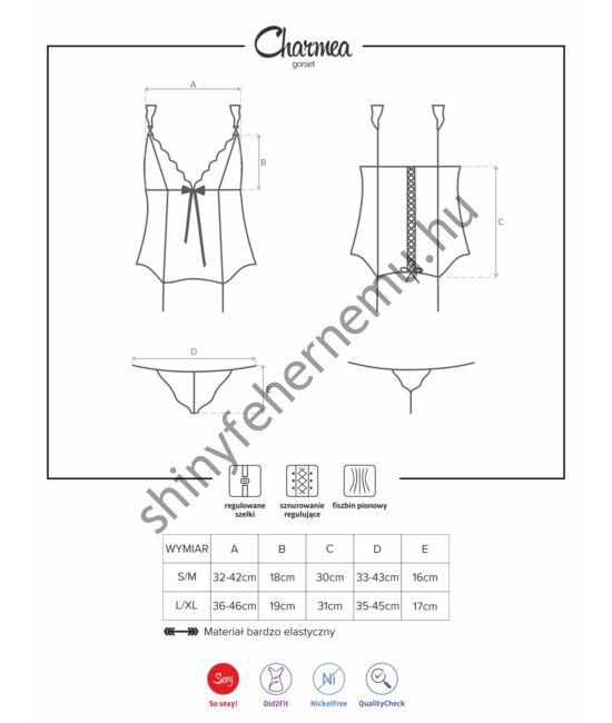 CHARMEA fehérnemű, szexi corset+tanga