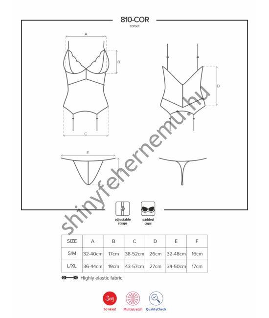 810 Black fehérnemű, szexi corset+tanga