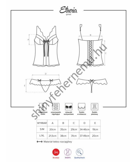 ETHERIA fehérnemű, szexi corset+tanga