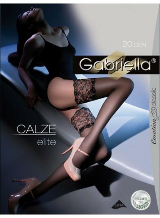 GABRIELLA Calze ELITE 20denes csipkés, szilikonos combfix - FEKETE
