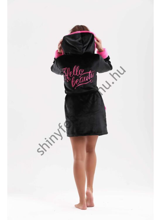 "POPPY ""HELLO BEAUTY"" fekete-pink női köntös"