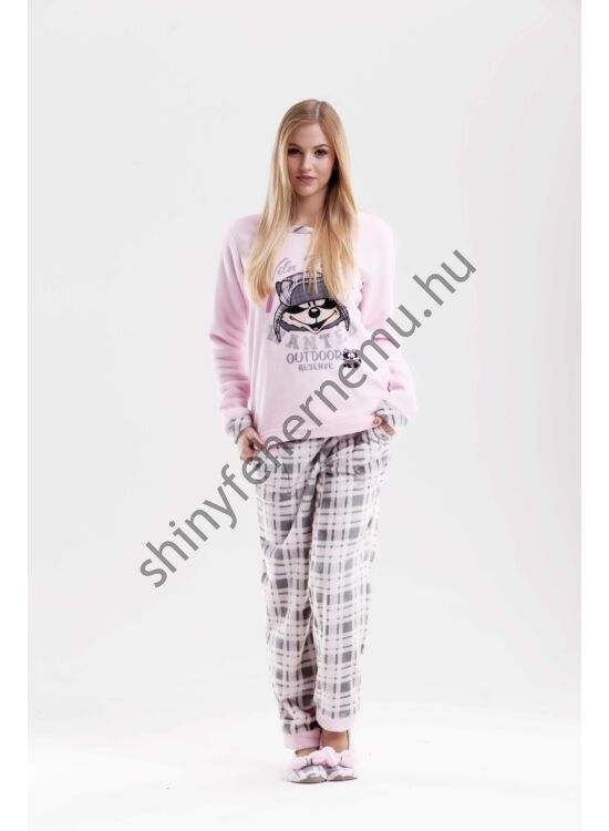 Poppy pizsama Nice MOSÓMACI szürke-rózsa kockás
