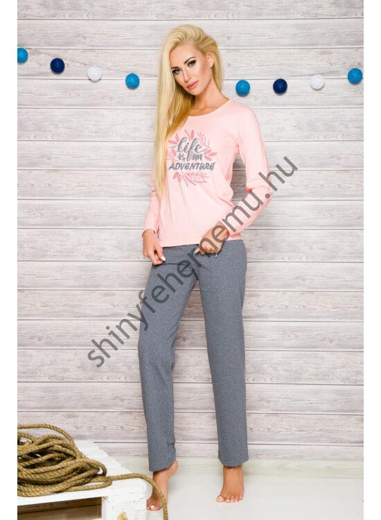 SYLWIA Peach-grey női pizsama
